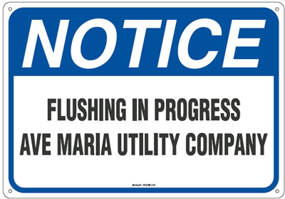 Flushing In Progress Aver Maria Utility Company